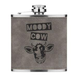 Moody Cow 6oz PU Leather Hip Flask Grey Funny Joke Wife Girlfriend Valentines