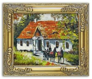 Painting-City-Landscape-Handmade-Oil-Painting-Picture-Oil-Frame-Pictures-G03917