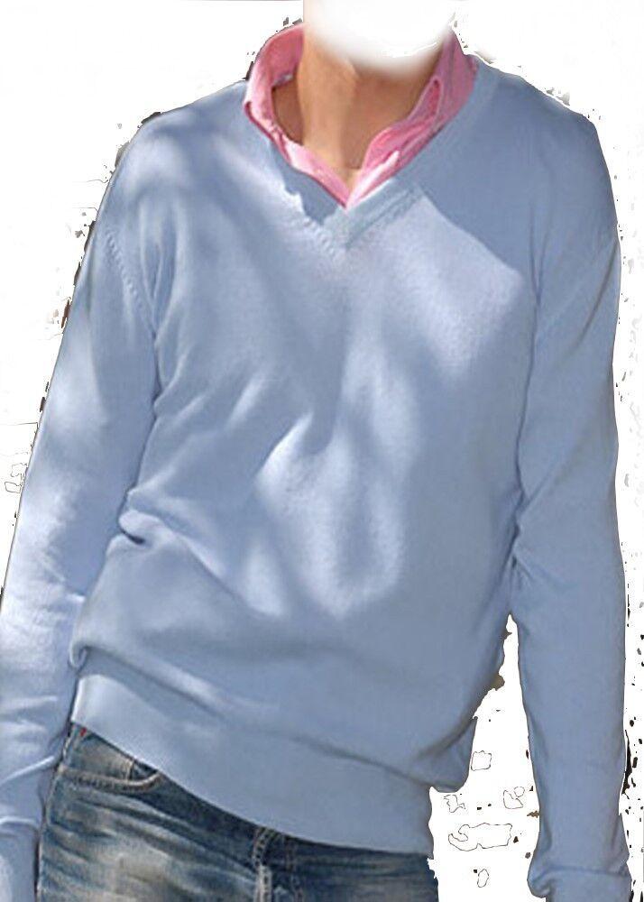 Balldiri 100% Cashmere Herren Pullover V Ausschnitt himmelblau XS