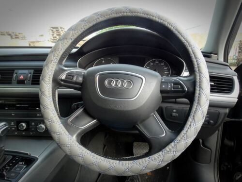 Soft Thick Leather Car VAN Steering Wheel Cover Cross Stitching 38cm GREY