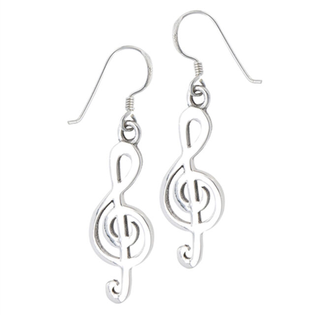 Basic Dangle Cutout Treble Clef Simple 925 Sterling Silver Music Note Earrings
