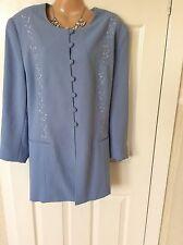 Kaleidoscope Ladies Wedding Blue Embroidered Jacket Size 22 Vgc Best Price