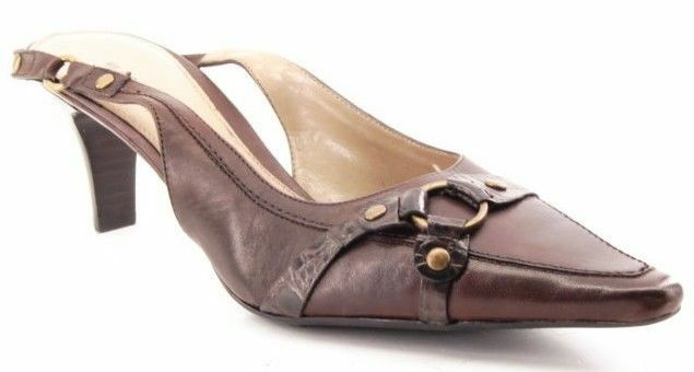 New BANDOLINO Damens Brn Leder Toe Slingback High Heel Pointy Toe Leder Pump Schuhe Sz 8 M 73685e