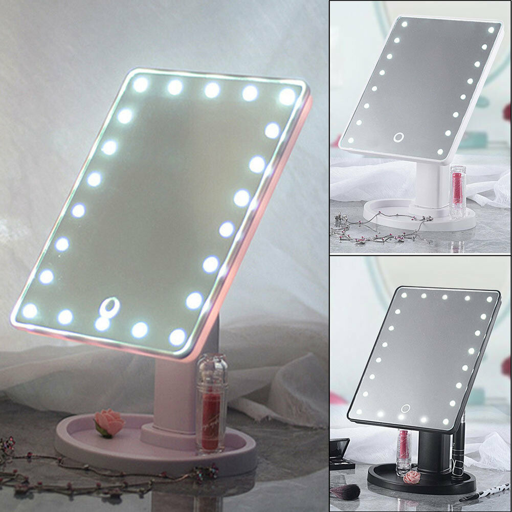 22 Led Touch Screen Makeup Mirror Tabletop Cosmetic Vanity Light Up Uk