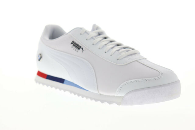 Puma BMW MMS Roma 30619504 Mens White Leather Lace Up Low Top Sneakers  Shoes 13