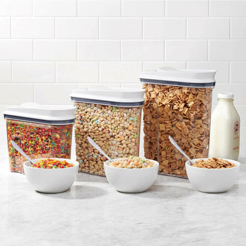 Clear OXO Good Grips 3 Piece Airtight POP Food Storage Cereal Dispenser Set