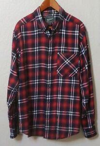Woolrich-Men-039-s-L-Flannel-Plaid-Button-Up-Shirt-Long-Sleeve-100-Cotton-Flannel
