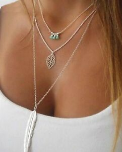 Necklace-Bohemian-3-Layer-Pendant-Leaf-Beads-Silver-Colour-Chain-034-Aussie-Seller-034
