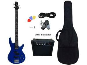 Christmas Gift ! Bass Guitar 20W Amp Package 4 String Blue for Beginners PB88620 Canada Preview