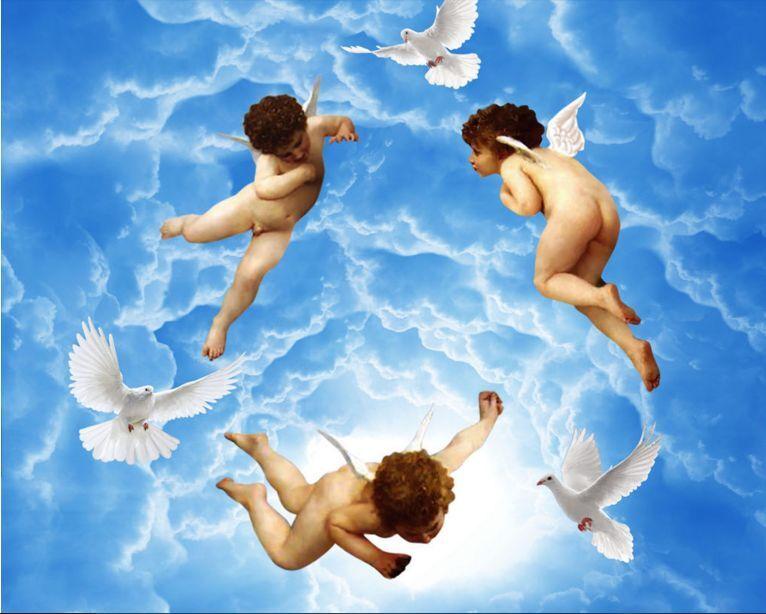 3D Angel Sky Dove Ceiling WallPaper Murals Wall Print Decal Deco AJ WALLPAPER GB