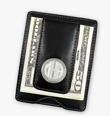 Personalized Leather Money ClipMonogramWalletBlackBrown