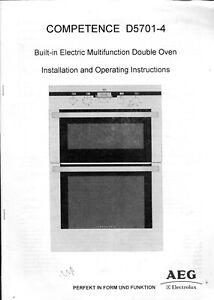 Aeg Competence Four Manuel D'instruction Booklet D5701-4 D'installation Et De Fonctionnement-afficher Le Titre D'origine