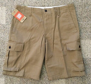 Dockers Mens Size 42W Tan Cargo Shorts Flat Front 100% Cotton Casual