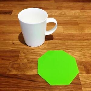 """Octogone En Forme De Citron Vert Brillant Acrylique Coasters, Ensembles De 4, 6 Ou 8, 10.5 Cm 4""""-afficher Le Titre D'origine à Vendre"""