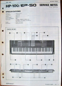 Roland-HP-100-EP-50-Electronic-Piano-Original-Service-Notes-Manual-Booklet-1985