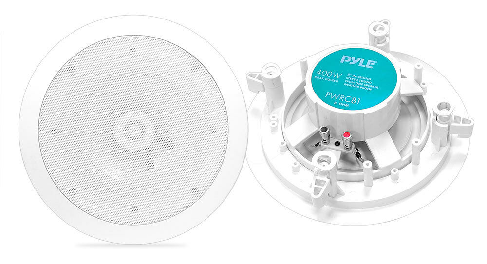 PyleHome PWRC818 Inches Weather Proof 2-Way In-Ceiling   In-Wall Stereo Speakers