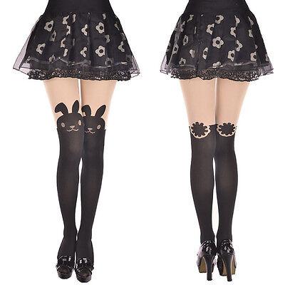 Japan Women Cute Cartoon Animal Mock Knee High Tattoo Stocking Pantyhose Tights