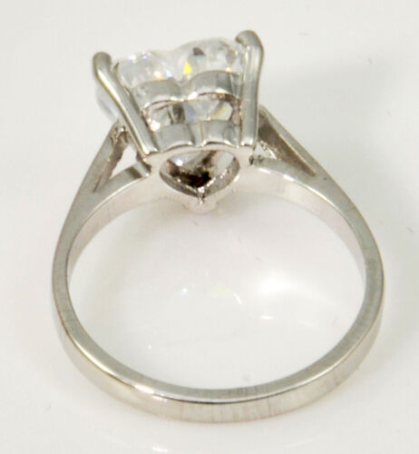 1 ct Heart Ring Vintage Top Russian CZ Moissanite Simulant SS Size 8.5