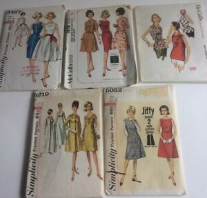 VTg-Lot-of-5-Simplicity-McCall-Sewing-Patterns-1950s-Women-039-s-Dresses-amp-Top-Sz-16