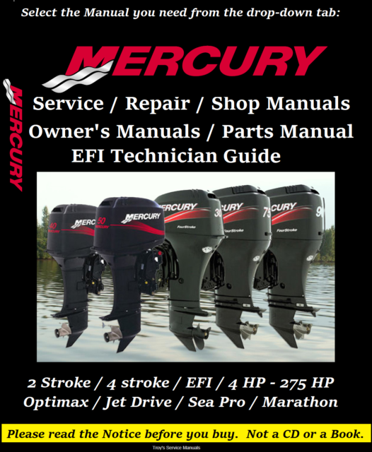 1993 1994 95 Mercury 90 120 Hp Sport Jet Clymer Repair Manual W815
