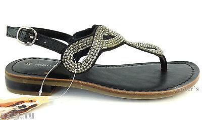 Hush Puppies Sandalette 32 LEDER Sandale Sommer Schuh Zehensteg Schwarz Chic NEU