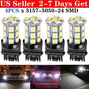 4x-White-3157-24-SMD-LED-Light-Bulbs-Daytime-Running-Backup-Reverse-3757-3457