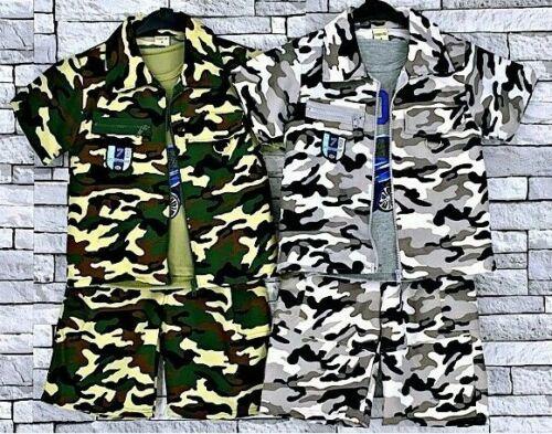 Garçons Camouflage 3 Pièce Fermeture Éclair Veste débardeur /& short Tenue Set 2 to10 année