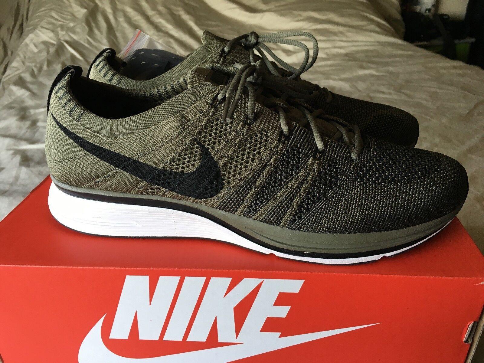 Nike Flyknit Trainer Running Medium Olive/Black/White AH8396-200 Mens SZ 11