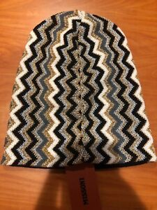 NEW AUTHENTIC MISSONI ORANGE LABEL WOOL BLEND MULTI-COLOR KNIT HAT made in Italy