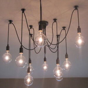 Details About Vintage Multiple Diy Ceiling Light Adjustable Fitting Spider Lamp Pendant Bulb