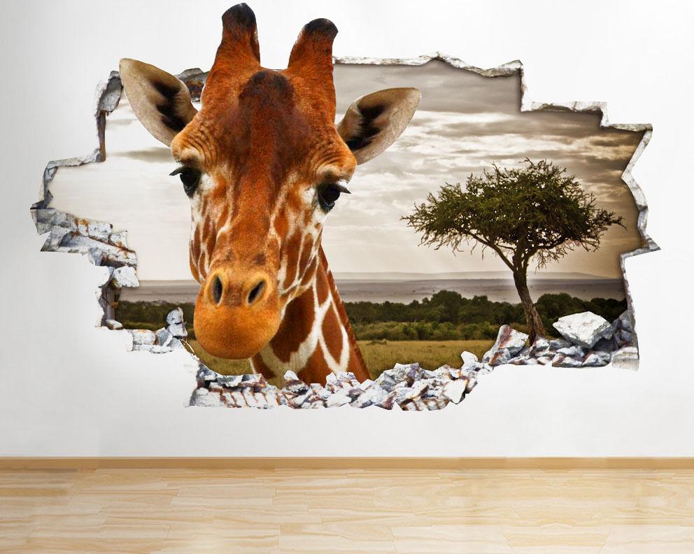 Q077 girafe Safari enfants animaux Smashed Autocollant Chambre 3D Vinyle enfants
