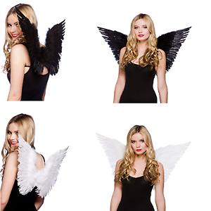 Adulto-Pequeno-Grande-Pluma-Angel-Hada-Alas-de-Disfraz-Negro-Blanco