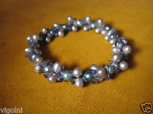 IOLITE-BLUE-GRAY-PEARL-STRETCH-BRACELET-LUSTER-DISC-HONORA-Gift