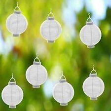Lampions Ballon Licht Papierlampion SET 6x WEIß Papierlaterne LED Laterne Garten