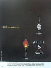 PUBLICITE PORTO FERREIRA PORTUGAL VERRE CRISTAL BOUTEILLE DE 1973 FRENCH AD PUB