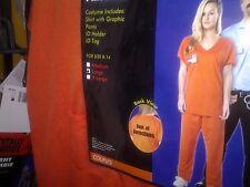 *BRAND NEW* Adult Womens Prisoner Uniform Halloween Costume Orange