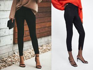 miglior sito web b267a 3057e Dettagli su Zara NERO CAMOSCIO ECOPELLE Pantaloni Legging Black Faux Suede  TROUSERS PANTS- mostra il titolo originale