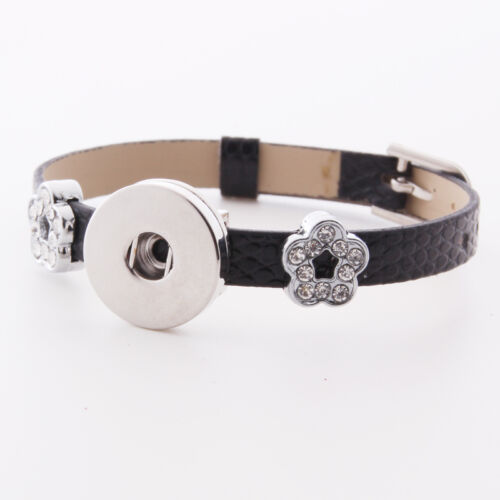 HOT DIY 1pcs Charm Silver Rhinestone wristband For Noosa snaps chunk button #18
