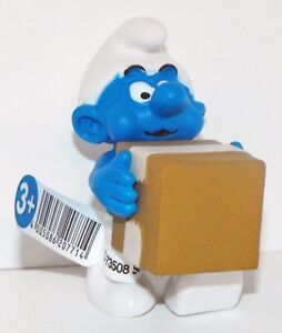 20771-Logistics-Smurf-Figurine-from-2015-Office-Set-Plastic-Figure-UPS-Delivery