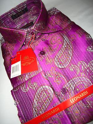 Leonardi High Fashion Dress Shirt French Cuff Edition 38 Hot Pink-Purple Paisley