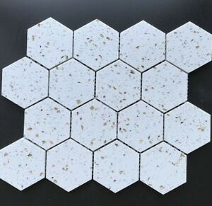 Details About Terrazzo Mosaic Tile 3 Hexagon 12x12 Mesh Backing Color Gold Diamond