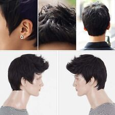 Handsome Boys Wig Fashion Short Men Natural Black Hair Cosplay Wigs Lace  Front 0f4a3b359ff5