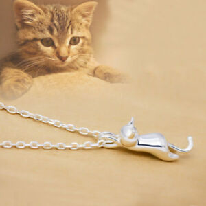 18K-White-Rose-Gold-Plated-Cute-Kitty-Cat-Rolo-O-Cross-Chain-Pendant-Necklace