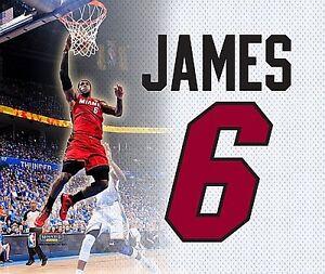 LeBron James, Miami Heat, la fresque 28cm, toile d'impression toile, NBA, basket-ball  </span>