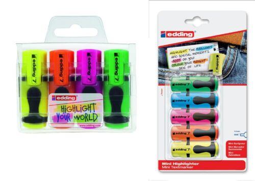 edding 7 Textmarker mini highlighter 1-3mm im 4er Etui oder 5er Blister