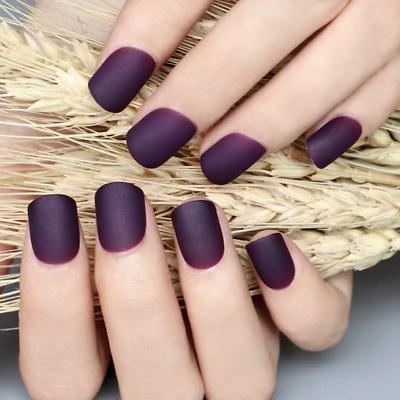 matte plum short dark purple full cover press on 24 nail