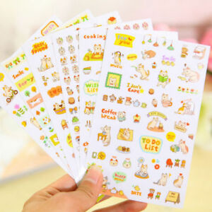 Stationery Stickers Cute Girl Flower Cartoon Animal Food Shape Stationery Sticker Paper Pvc Sticky For School Suppliese Kids Toy Book Calendar Decor