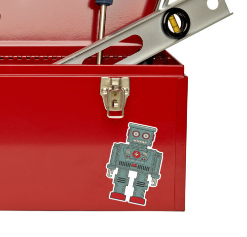 2 x 10cm Robot Vinyl Sticker Decal Laptop Car Bike Computer Kids Funny #9014