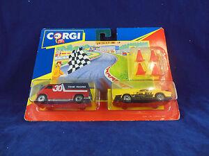Scarse-1991-CORGI-JUNIORS-Twin-Pack-N-92240-RACING-TEAM-CUSTOM-Van-amp-Pontiac