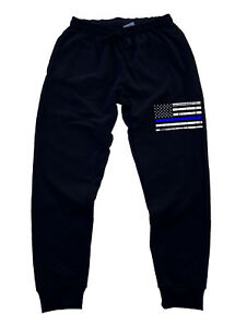 0a9cca3247b9 Men s Thin Blue Line USA Police Flag Jogger pants sweatpants Fitted ...